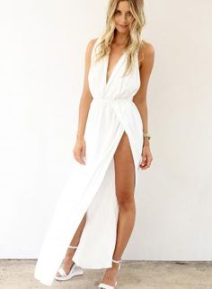 White Maxi Dress with Plunge Neckline #slit #holiday #crossover