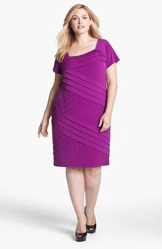34f5bd7d941 London Times Shutter Pleat Sheath Dress (Plus Size)