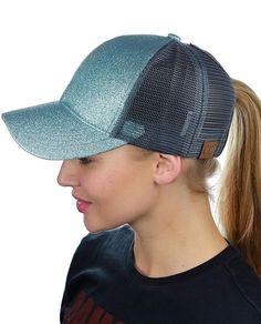 0422c7afe31 Pony cap Messy High Bun Ponytail Adjustable Glitter Mesh Trucker Baseball  Cap High Bun Braid