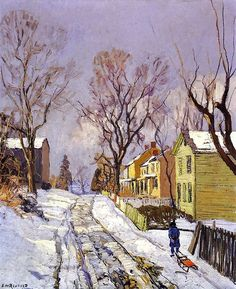 Edward Willis Redfield, Center Bridge, Pennsylvania, 1917 - Love the Bucks County Impressionists! American Impressionism, Winter Art, Winter Snow, Winter Landscape, Winter Scenes, Landscape Paintings, Landscapes, American Artists, Scenery