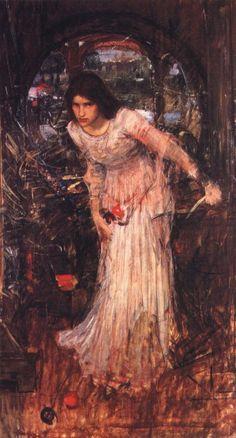 John William Waterhouse: The Lady of Shalott [looking at Lancelot] (study) - 1894