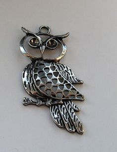 Silver Tone Owl Charm can hold two rhinestones by BERTLENE123, $2.50