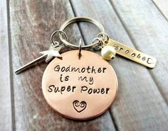 Godmother Keychain~ Godmother Gift~ Godmother Jewelry~ Best Godmother~ Personalized Godparent Gift