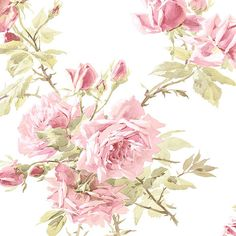 Find wallpaper close-out sale pricing for popular wallpaper patterns online courtesy of Wallpaper Warehouse. Floral Print Wallpaper, Go Wallpaper, White Wallpaper, Pattern Wallpaper, Floral Prints, Floral Wallpapers, Pink Paper, Paper Roses, White Paper