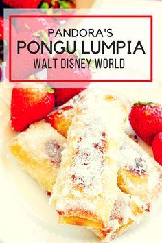 Walt Disney World Pandora's Pongu Lumpia - Pink Cake Plate Disney Desserts, Disney Dishes, Just Desserts, Dessert Recipes, Disney Recipes, French Desserts, Disney Ideas, Disney Tips, Disney Magic