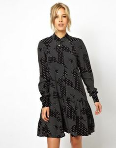 ASOS Swing Dress In Mono Print.  Good dress for hiding early bump.