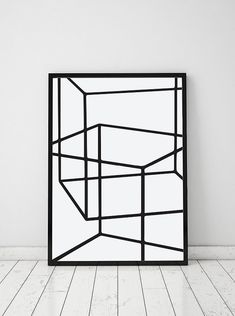 Geometric Cubes Abstract Print - PRINTABLE FILE. Modern Black White Scandinavian Art. Nordic Minimalism Art. Line Art Poster. This is INSTANT DOWNLOAD - a printable item. Please note that NO physical items will be sent. The colour quality will vary depending on the type of printer and