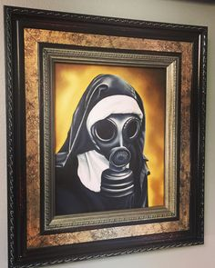 Gas mask nun oil painting by me.