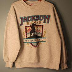 9592668f Vintage 1990's Jackson Hole Wyoming Gray Crewneck Jerzees Sweatshirt Size  Large Made in the USA
