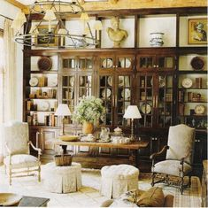 Library to love.  Chocolate brown,  beige, camel, and parchment colors