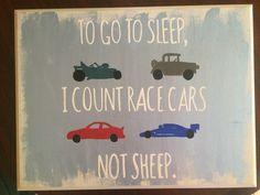 to go to sleep I count race cars not sheep. baby boy car lover room decor