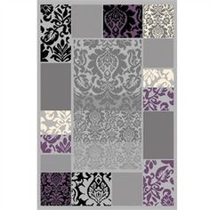 Urban Gray and Purple Damask Rug by L.A. Rug Inc.
