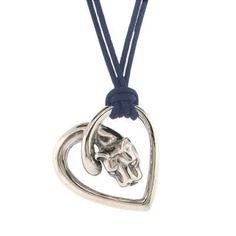 Sterling Silver Large Penn State Lion Heart Pendant
