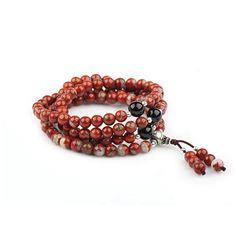 """Bracelet """"rosary"""" jaspe rouge et onyx"""