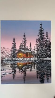 The most perfect winter landscape painting you may have ever seen! By: ross paintings videos Snowy Winter Cabin Reflection❄️ Famous Landscape Paintings, Chinese Landscape Painting, Nature Landscape, Pastel Landscape, Watercolor Landscape Paintings, Winter Landscape, Sunset Landscape, Contemporary Landscape, Mountain Landscape Drawing