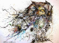 """Chinese painter, illustrator and street artist Cheng Yingjie (a.k.a. Hua Tunan) has created an extraordinary painting called """"Night Owl"""" that makes perfect use of his signature colorful and chaotic style."""