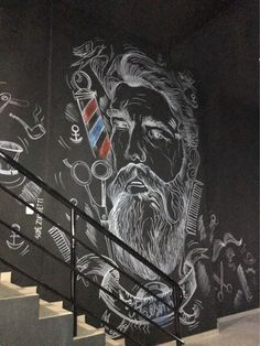Pintura Barbearia Resenha _ Suyê Zucchetti Barber Store, Barber Shop Decor, Chalkboard Wall Art, Barbershop Design, Tattoo Studio, Wall Decals, Graphic Design, Barbershop Ideas, Shop Logo