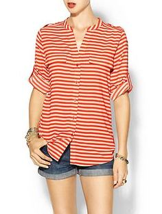 Calvin Klein Crew Neck Stripe Blouse  Piperlime