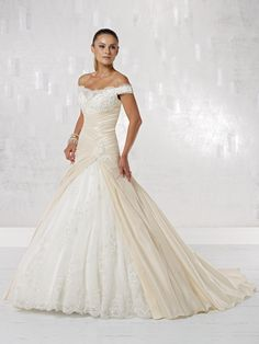 Gorgeous off shoulder ball gown chapel train bridal gowns.