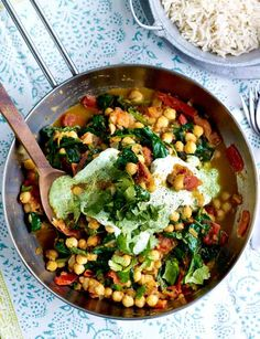 Fresh tomato, chickpea and spinach curry - Sainsbury's Magazine (To veganize use non-dairy yogurt.)