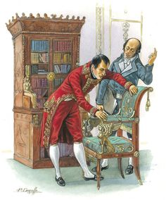Napoleon inspecting an 'Empire' chair.