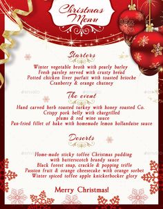 Christmas Eve Menu Template psd V2 | Menu templates, Template and ...