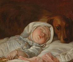 Michel Honoré Bounieu, Schlafendes Kind von einem Hund bewacht