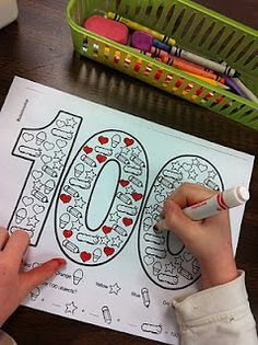 100th day colouring activity