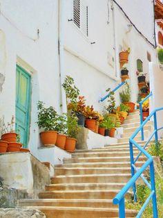 Tumblr | Steps and flower pots at Puerto de Mogan, Gran Canaria, Canary Islands