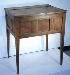 Rare Georgia Sugar Table, circa 1840.  33⅜ inches (height), 29⅝ inches (width), 22¼ inches (depth).    Divided interior, primary wood: walnut, secondary wood: poplar, tongue & groove with pegs (post) construction, three walnut front panels, two (each) walnut side panels, walnut top & tapered legs, rubbed-down surface.    Exceedingly desirable form.