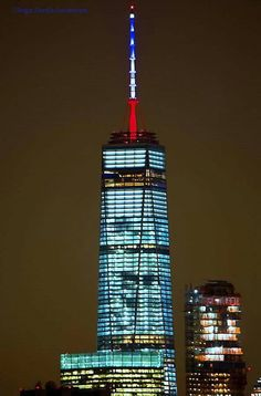 One World Trade Center lit up in solidarity for France