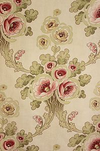 Antique French Art Nouveau Printed Cotton Fabric Material Pinks Greens C1905 | eBay