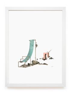 """clairetrotignon: """" High napper, study liner from The adjustable ruins and the nappers, Gresland polarities Gouache, collage of engraving and atlas 30 x 40 cm - 2016 Installation for POLARITÉS duo show with Dominique Blais at Le SHED sept > nov -..."""
