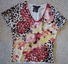 Floral & Animal Print, Short Sleeve Beaded and Sequinned Top, Michelle Nicole Brand, VGUC