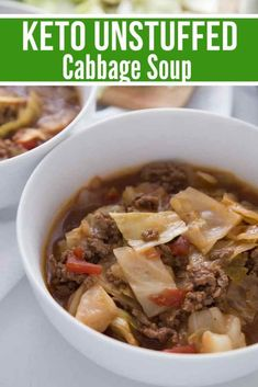 Unstuffed Keto Cabbage Soup {Instant Pot, Crock Pot, or Stove Top Directions} - One pot rezepte Unstuffed Cabbage Roll Soup, Crock Pot Cabbage, Cabbage Soup Recipes, Potato Recipes, Sweet Potato Soup, Easy Meal Prep, Clean Eating Snacks, Stevia, Healthy Recipes