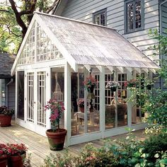 "BACK PORCH? ""greenhouse conservatory"" wood deck floor, screen panels... easy to replace if one gets a hole in it. My house plan roof goes in opposite direction... but I could make the Great Room look like this : )"
