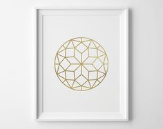 Geometric Circle Print, Modern Bedroom Decor, Modern Art, Matte Faux Gold Faceted Circle, Geometric Art, Gold and White Bedroom Art by SweetPeonyPress on Etsy https://www.etsy.com/listing/182116944/geometric-circle-print-modern-bedroom