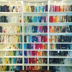 I like alphabetical order too much to contemplate doing this, but it is  pretty. Bookshelf ...