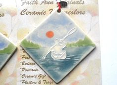 2 more out of the kiln... but they'll go quick!  KAYAK PADDLER handmade ornament ceramic by FaithAnnOriginals, $24.00