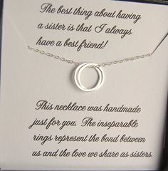 SISTER Necklace , Sister Maid of Honor , Gift message included, Entwined Rings, Friendship, Unending Circles, Sister gift on Etsy, $39.00
