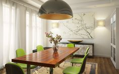 White Wall Color for Dining Room Decorating with Amazing Rectangle Shaped Wood Table Top that have Stainless Steel Legs also Comfortable Green and Black Chairs on the Classic Style Carpet and Barn Style Pendant Lamp