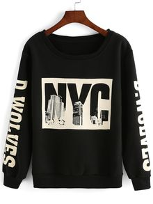Black Round Neck Letters Print Loose Sweatshirt