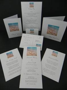 2 Hearts in the Sand Wedding Invitations & Stationery