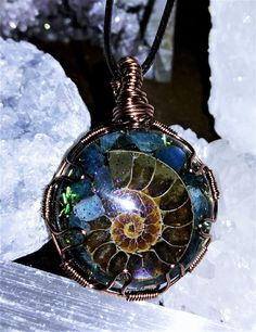 Ammonite & Blue Apatite Orgone Necklace Reiki infused Moth Symbolism, Ammonite, Love And Light, Fossils, Quartz Crystal, Reiki, Amethyst, Ocean, Crystals
