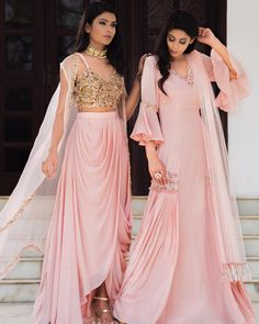 Trendy designs Of Baby Pink Colour With golden combination with it. To Make this outfit then whatsapp on Lehenga Designs, Indian Gowns, Indian Attire, Indian Designer Outfits, Designer Dresses, Indian Fashion Trends, Indian Fashion Modern, Fashion Tips, Stylish Dresses