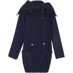 Philosophy di Lorenzo Serafini Indigo Cotton Jacket (€965) found on Polyvore featuring women's fashion, outerwear, jackets, navy, navy jackets, collar jacket, navy blue jacket, sailor jacket and blue jackets