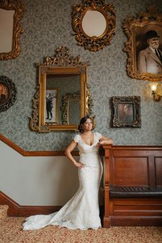 Bride Ana wearing a Liancarlo wedding gown from Little White Dress Bridal Shop in Denver, CO | Wedding at The Stanley Hotel in Estes Park, Colorado