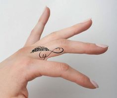 Infinity Feather Symbol - Temporary Tattoo (Set of tattoos tatoo tattoos deviantart tattoos for men Mini Tattoos, Tiny Finger Tattoos, Frog Tattoos, Finger Tattoo Designs, Body Art Tattoos, Nature Tattoos, Wedding Finger Tattoos, Dandelion Tattoos, Tatoos
