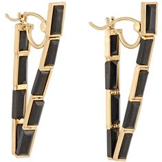 Nak Armstrong Women's V-Shaped Hoop Earrings ($3,465) ❤ liked on Polyvore featuring jewelry, earrings, colorless, clear jewelry, sparkly earrings, 18k earrings, sparkle jewelry and earrings jewelry
