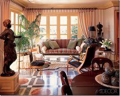 Gorgeous painted faux-marble floor. Mark Hampton. Inspiration Chateau de Groussay